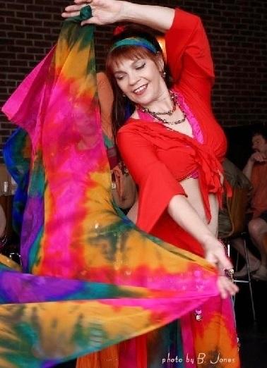 dancer dancing with tie-dye veil